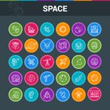 Space Exploration colorful icons. Space Exploration colorful icon set. Modern icons on theme solar system, rockets, planets and aliens. Vector illustration royalty free illustration