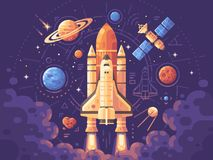 Space exploration concept. Space objects flat illustration. Shuttle launch background. Colorful astronomy banner royalty free illustration