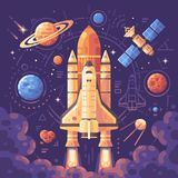 Space exploration concept. Space objects flat illustration. Shuttle launch background stock illustration