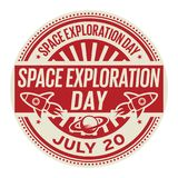 Space Exploration Day, July 20. Rubber stamp, vector Illustration stock illustration