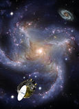Space Exploration - Distant Galaxy. Intergalactic probe exploring a distant galaxy Stock Photography