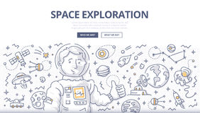 Space Exploration Doodle Concept. Astronaut surrounded with space related symbols and elements. Doodle  concept of space mission and exploration for web banners Stock Images
