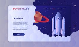 Space exploration hero image template with rockets. In open space royalty free illustration