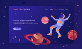 Space exploration hero image template with a spaceman. And planets in outer space stock illustration