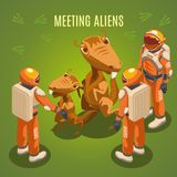 Space Exploration Meeting Aliens Composition. Meeting aliens during space exploration isometric composition on green background with astronauts in environmental Royalty Free Stock Photos