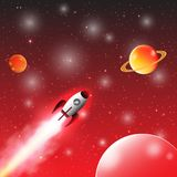 Space exploration with retro rocket planets and stars on dark background with rays and flares vector illustration Royalty Free Stock Images