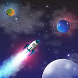 Space exploration with retro rocket planets and stars. Space exploration with retro rocket planets and stars on dark background with rays and flares vector Stock Photo