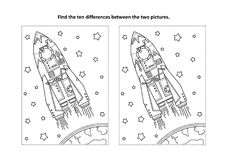 Find the differences visual puzzle and coloring page with rocket or spaceship. Space exploration themed find the ten differences picture puzzle and coloring page stock illustration