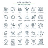 Space Exploration thin line icons Royalty Free Stock Photography