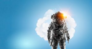 Adventure of spaceman. Mixed media. Space explorer in astronaut suit. Mixed media Stock Images