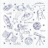 Space Explorers Doodles Set. Set of isolated hand drawn doodles with astronaut spaceships stations and planets decorative images flat vector illustration Stock Images