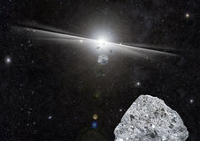 Space Explosion Rocks. Explosion in space with rocks and debris stock illustration