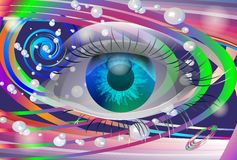 Space eye. Abstract composition with space, eye circles and ribbons Stock Photos