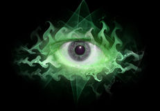 Space eye background tripin. Green theme, tripy eye graphic Royalty Free Stock Images