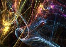 Space Fantasy Magic. Energy swirls abstract, dark background, horizontal Stock Images