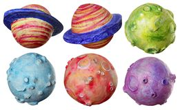 Space fantasy six planets handmade colorful Stock Image