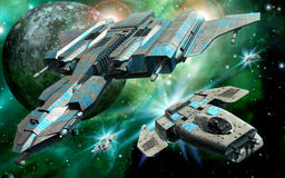 Space fighter and alien moon. Space fighter and mother ship with alien moon in 3d Royalty Free Stock Photos