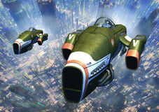 Space fighters. A couple of space fighters patrol the sky over a futuristic city in 3d Royalty Free Stock Images