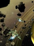Space fighters crossing an asteroids belt. Alien or futuristic space fighters crossing an asteroids belt to approach of a ring planet similar to Saturn vector illustration