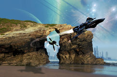 Space fighters pursuit. Two alien space fighters in a battle over the beach of a distant galaxy Stock Images