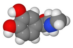Space-filling model of adrenaline molecule Stock Image