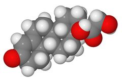 Space-filling model of cortisol molecule Stock Images
