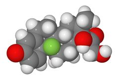 Space-filling model of dexamethasone molecule Royalty Free Stock Photo