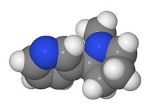 Space-filling model of nicotine molecule Stock Photos