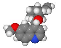 Space-filling model of quinine molecule Royalty Free Stock Image