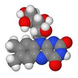 Space-filling model of riboflavin molecule Royalty Free Stock Images