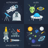 Space Flat Compositions Stock Images