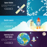 Space Flat Horizontal Banners Royalty Free Stock Photos