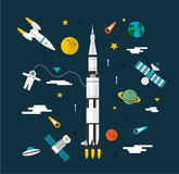Space flat icon set Royalty Free Stock Images