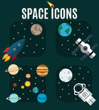 Space flat icon set Stock Photography