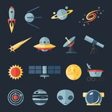 Space flat icons set. Space and cosmos flat icons set Royalty Free Stock Photo