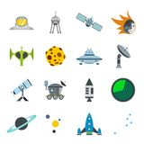 Space flat icons set. For web and mobile devices stock illustration