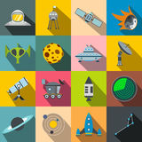 Space flat icons set. For web and mobile devices Stock Photo