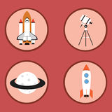 Space flat icons Royalty Free Stock Photo