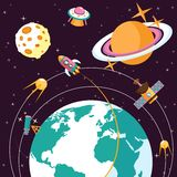 Space flat illustration Royalty Free Stock Photo