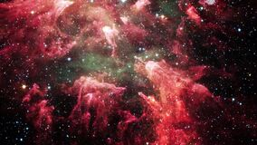 Space flight into Carina Nebula star field. 4K 3D rendering. Flight Through Space With star field, Galaxy and Nebulae