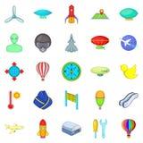Space flight icons set, cartoon style. Space flight icons set. Cartoon set of 25 space flight icons for web isolated on white background Stock Image