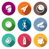 Space flight Icons Set. Vector Illustration Stock Photography
