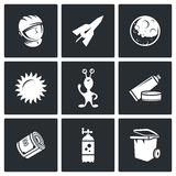 Space flight icons. Vector Illustration. Royalty Free Stock Photo