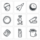 Space flight icons. Vector Illustration. Stock Image
