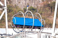 Space flight imitation seat in the amusement park Stock Photo