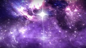 Space flight through nebula. Space travel. Space animation background with blue nebula, many stars for different projects stock video