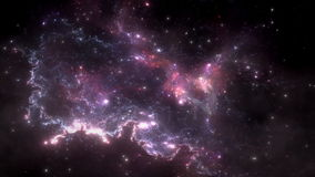 Space flight through nebula. Space travel. Space animation background with purple nebula, many stars for different projects stock video footage
