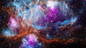 Space flight into NGC 6357 Diffuse Nebula star field expansive emission nebula complex . 4K 3D rendering.