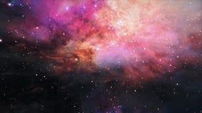 Space Flight Through The Orion Nebula. 4K 3D render seamless loop for scientific films, Sci-Fi cinematic, space, future, scene.