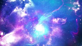 Space flight into a star field realistic galaxy milky way Light animation Loop background.